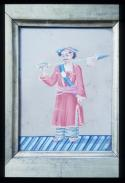Indian miniature on glass: Man Servant with Ceremonial Lance