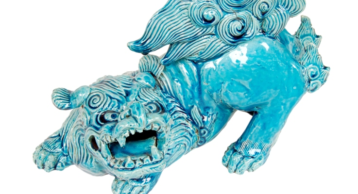 TN03226 Turquoise glazed porcelain figure of a Kylin with an open mouth